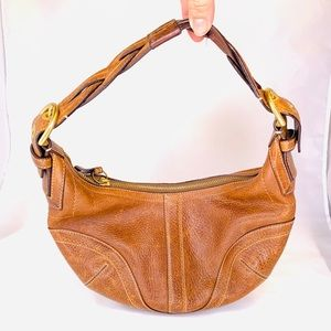 Coach Soho Whiskey Brown Braided Leather Hobo Bag